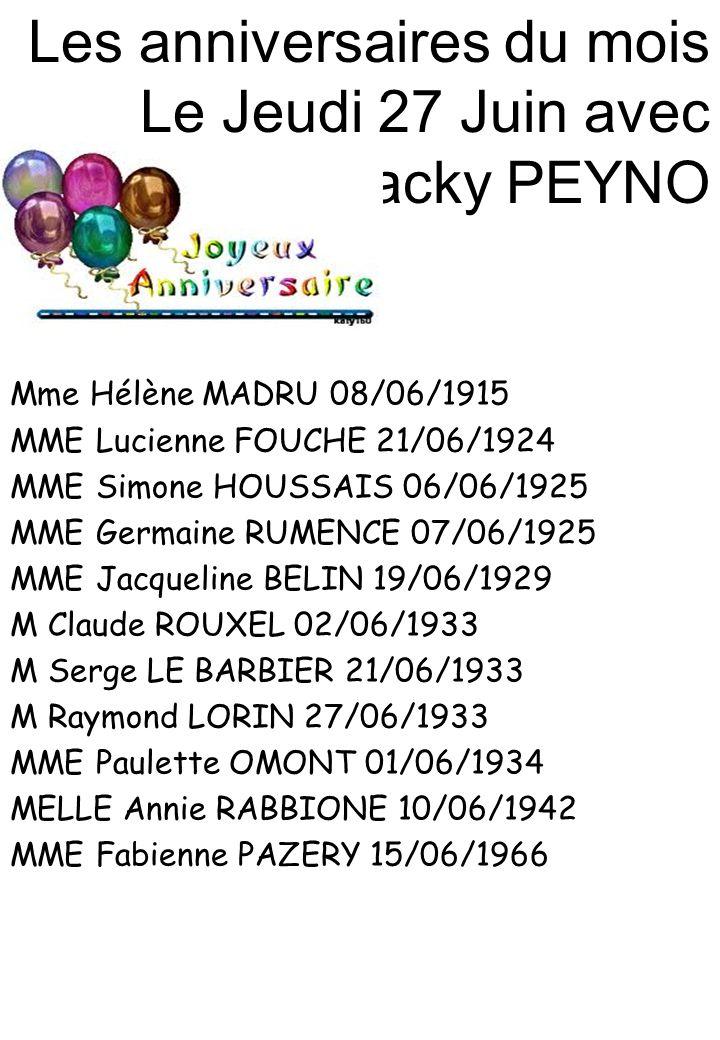 Les anniversaires du mois Le Jeudi 27 Juin avec Jacky PEYNO Mme Hélène MADRU 08/06/1915 MME Lucienne FOUCHE 21/06/1924 MME Simone HOUSSAIS 06/06/1925 MME Germaine RUMENCE 07/06/1925 MME Jacqueline BELIN 19/06/1929 M Claude ROUXEL 02/06/1933 M Serge LE BARBIER 21/06/1933 M Raymond LORIN 27/06/1933 MME Paulette OMONT 01/06/1934 MELLE Annie RABBIONE 10/06/1942 MME Fabienne PAZERY 15/06/1966