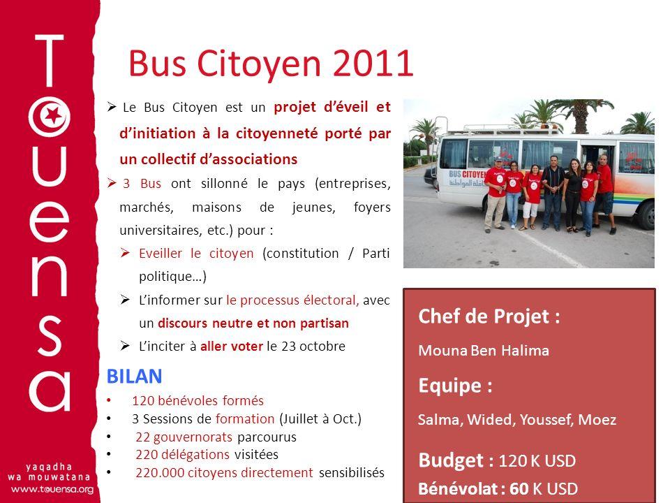 Bus Citoyen 2011 10 Le Bus Citoyen est un projet déveil et dinitiation à la citoyenneté porté par un collectif dassociations 3 Bus ont sillonné le pay