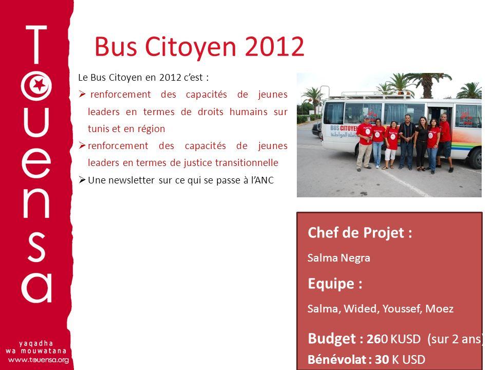 Bus Citoyen 2012 11 Le Bus Citoyen en 2012 cest : renforcement des capacités de jeunes leaders en termes de droits humains sur tunis et en région renf