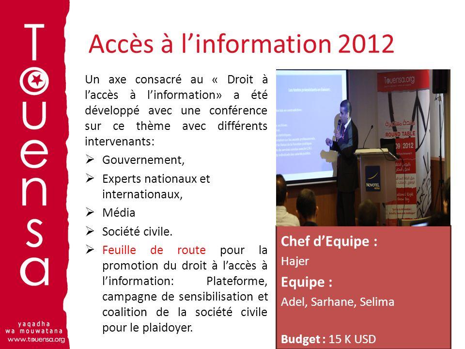 Accès à linformation 2012 14 Un axe consacré au « Droit à laccès à linformation» a été développé avec une conférence sur ce thème avec différents inte
