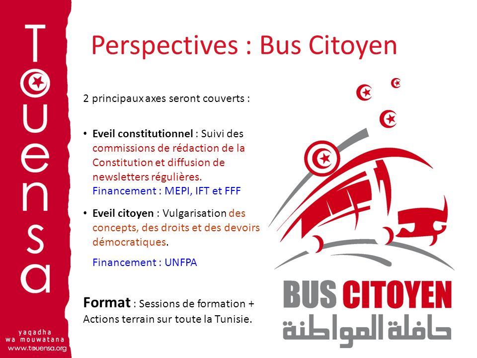 Perspectives : Bus Citoyen 2 principaux axes seront couverts : Eveil constitutionnel : Suivi des commissions de rédaction de la Constitution et diffus