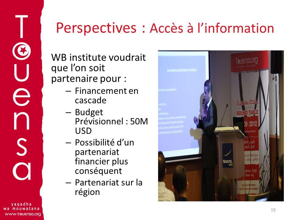 Perspectives : Accès à linformation WB institute voudrait que lon soit partenaire pour : – Financement en cascade – Budget Prévisionnel : 50M USD – Po