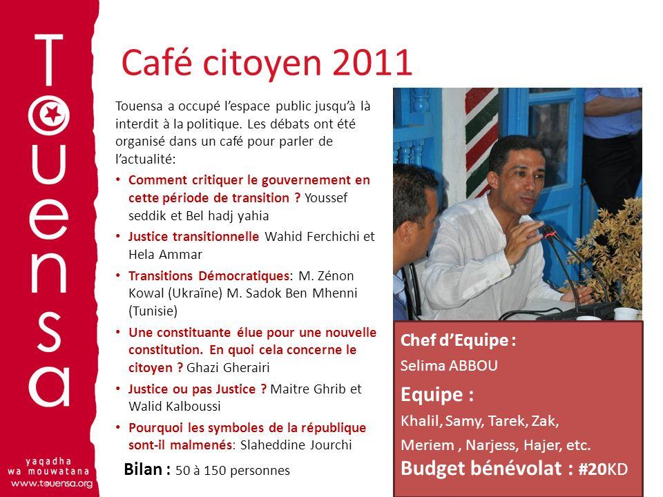 Café citoyen 2011 9 Touensa a occupé lespace public jusquà là interdit à la politique. Les débats ont été organisé dans un café pour parler de lactual