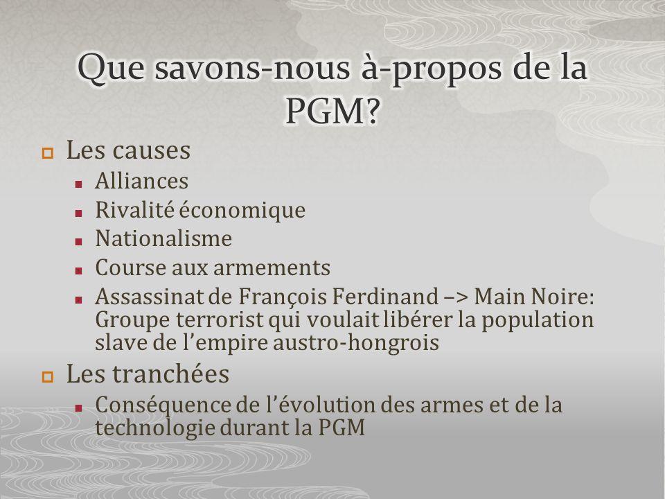 Les causes Alliances Rivalité économique Nationalisme Course aux armements Assassinat de François Ferdinand –> Main Noire: Groupe terrorist qui voulai