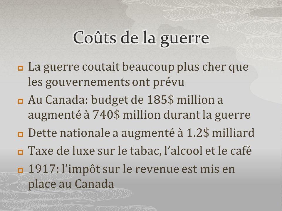 La guerre coutait beaucoup plus cher que les gouvernements ont prévu Au Canada: budget de 185$ million a augmenté à 740$ million durant la guerre Dett