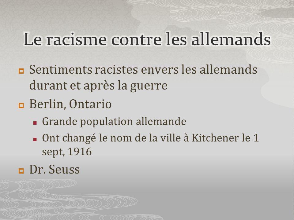 Sentiments racistes envers les allemands durant et après la guerre Berlin, Ontario Grande population allemande Ont changé le nom de la ville à Kitchen