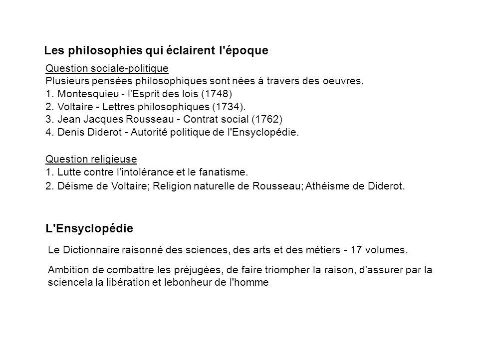 Les philosophies qui éclairent l'époque Question sociale-politique Plusieurs pensées philosophiques sont nées à travers des oeuvres. 1. Montesquieu -