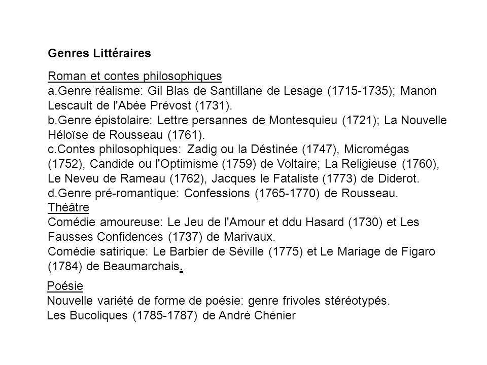 Genres Littéraires Roman et contes philosophiques a.Genre réalisme: Gil Blas de Santillane de Lesage (1715-1735); Manon Lescault de l'Abée Prévost (17