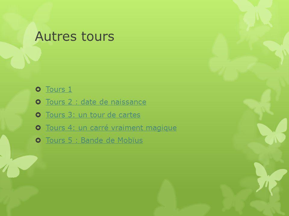 Autres tours Tours 1 Tours 2 : date de naissance Tours 3: un tour de cartes Tours 4: un carré vraiment magique Tours 5 : Bande de Mobïus