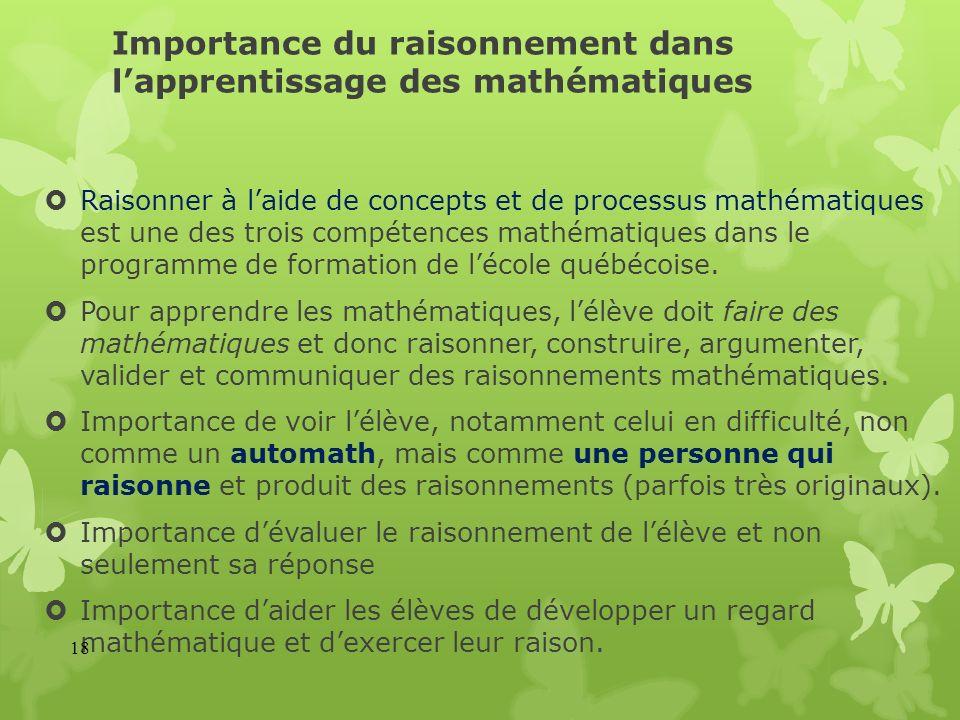 Importance du raisonnement dans lapprentissage des mathématiques Raisonner à laide de concepts et de processus mathématiques est une des trois compéte