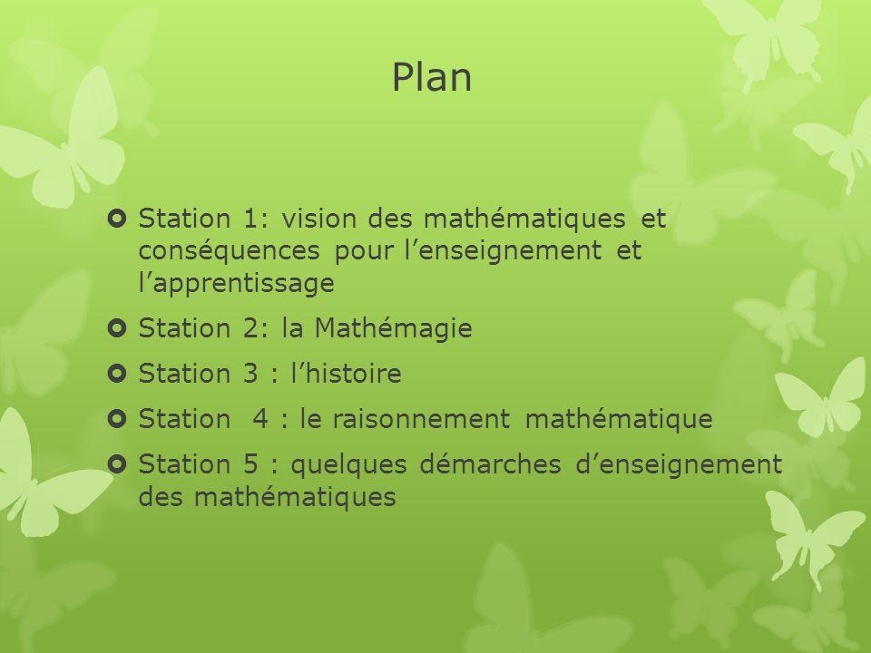 Plan Station 1: vision des mathématiques et conséquences pour lenseignement et lapprentissage Station 2: la Mathémagie Station 3 : lhistoire Station 4