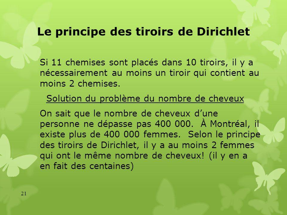 Le principe des tiroirs de Dirichlet Si 11 chemises sont placés dans 10 tiroirs, il y a nécessairement au moins un tiroir qui contient au moins 2 chem