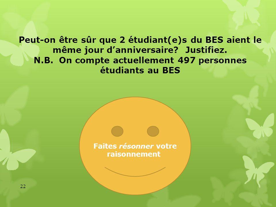 Peut-on être sûr que 2 étudiant(e)s du BES aient le même jour danniversaire? Justifiez. N.B. On compte actuellement 497 personnes étudiants au BES 22