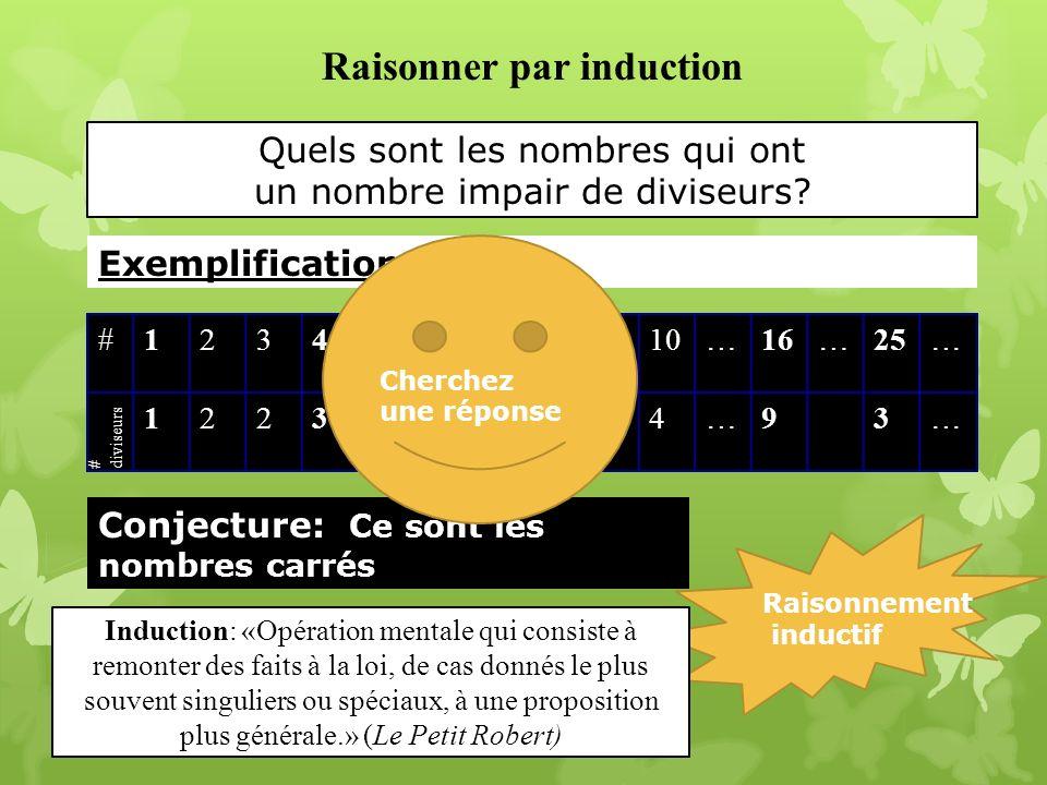 Quels sont les nombres qui ont un nombre impair de diviseurs? 23 Exemplification Raisonner par induction #12345678910…16…25… 1223242434…93… Conjecture