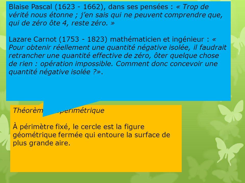 3 Prenez une ficelle fermée. Quelle forme faut-il lui donner pour quelle entoure la plus grande surface? Calculer: 0 – 4 = ? Théorème Isopérimétrique