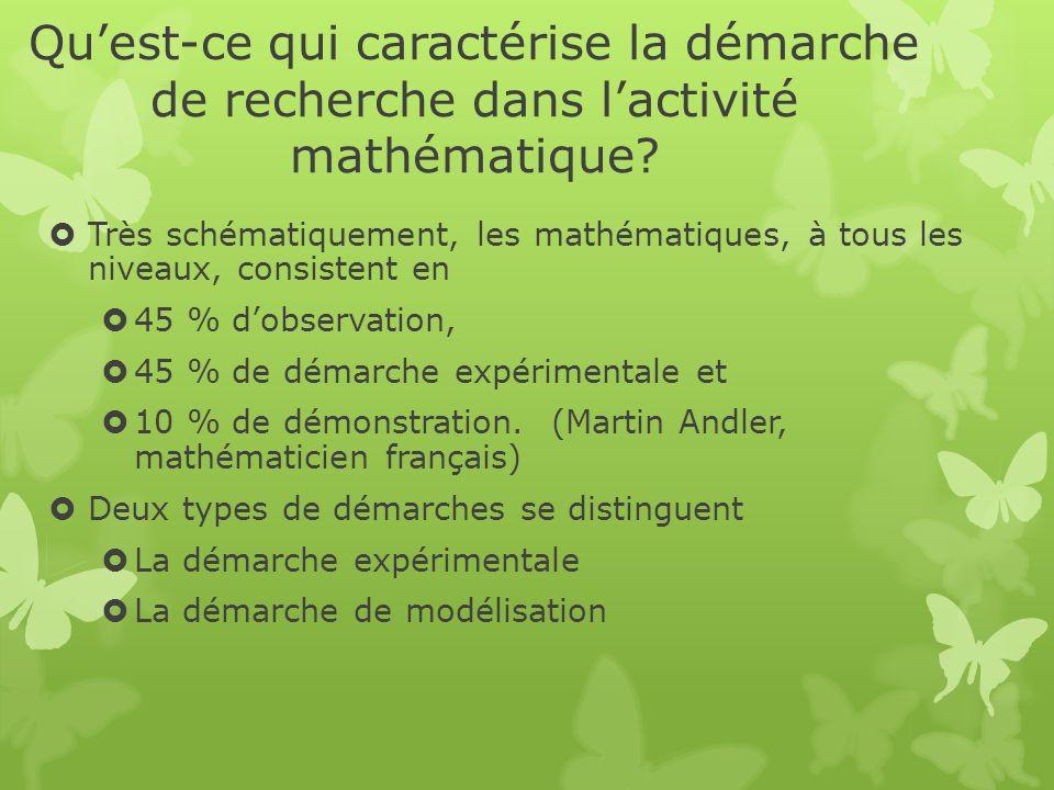 Quest-ce qui caractérise la démarche de recherche dans lactivité mathématique? Très schématiquement, les mathématiques, à tous les niveaux, consistent