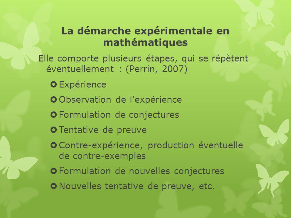 La démarche expérimentale en mathématiques Elle comporte plusieurs étapes, qui se répètent éventuellement : (Perrin, 2007) Expérience Observation de l