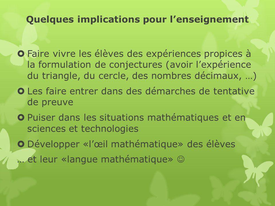 Quelques implications pour lenseignement Faire vivre les élèves des expériences propices à la formulation de conjectures (avoir lexpérience du triangl