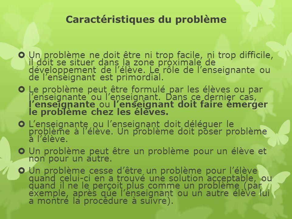 Caractéristiques du problème Un problème ne doit être ni trop facile, ni trop difficile, il doit se situer dans la zone proximale de développement de