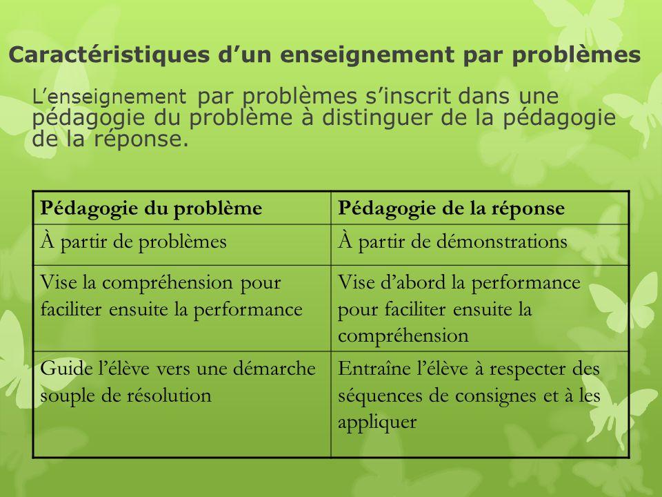 Pédagogie du problèmePédagogie de la réponse À partir de problèmesÀ partir de démonstrations Vise la compréhension pour faciliter ensuite la performan