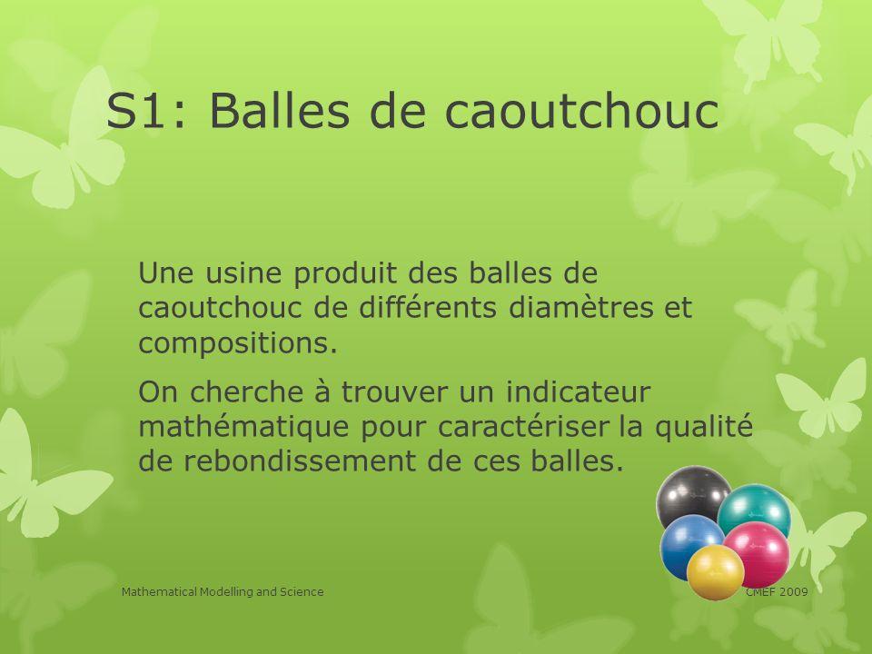 S1: Balles de caoutchouc Une usine produit des balles de caoutchouc de différents diamètres et compositions. On cherche à trouver un indicateur mathém