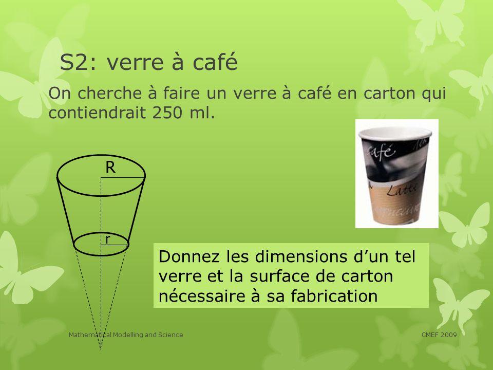 S2: verre à café On cherche à faire un verre à café en carton qui contiendrait 250 ml. CMEF 2009Mathematical Modelling and Science Donnez les dimensio