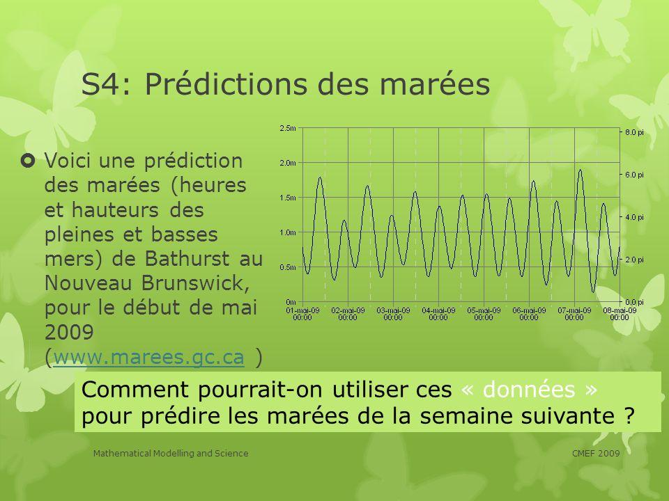 S4: Prédictions des marées Voici une prédiction des marées (heures et hauteurs des pleines et basses mers) de Bathurst au Nouveau Brunswick, pour le d