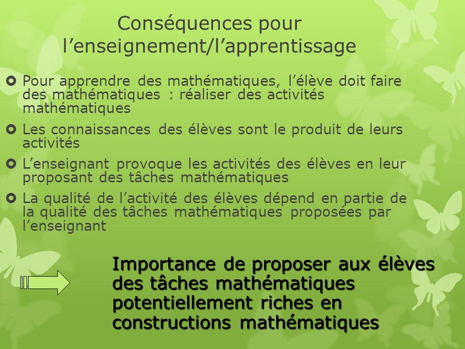 Conséquences pour lenseignement/lapprentissage Pour apprendre des mathématiques, lélève doit faire des mathématiques : réaliser des activités mathémat