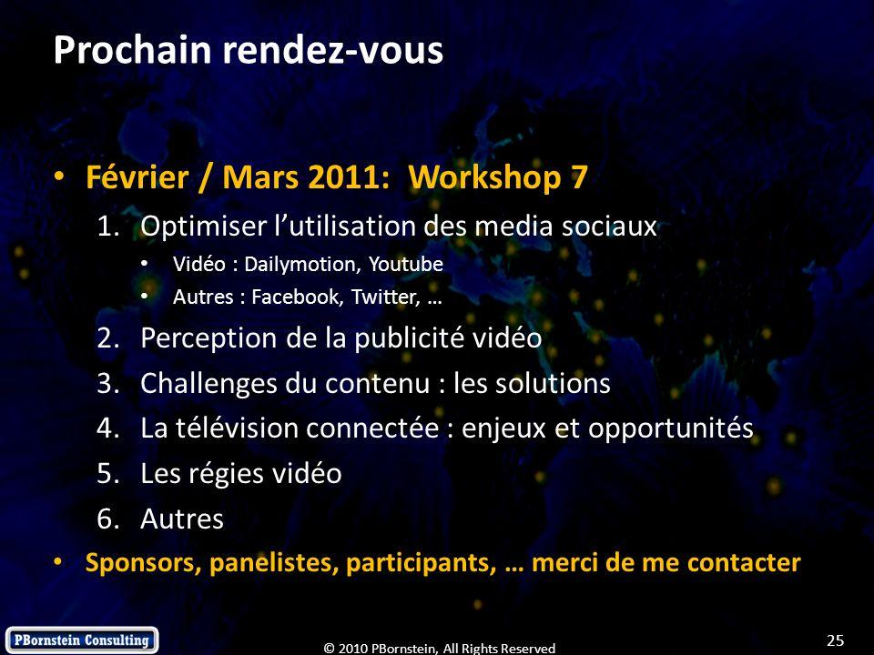 25 © 2010 PBornstein, All Rights Reserved Prochain rendez-vous Février / Mars 2011: Workshop 7 1.Optimiser lutilisation des media sociaux Vidéo : Dail