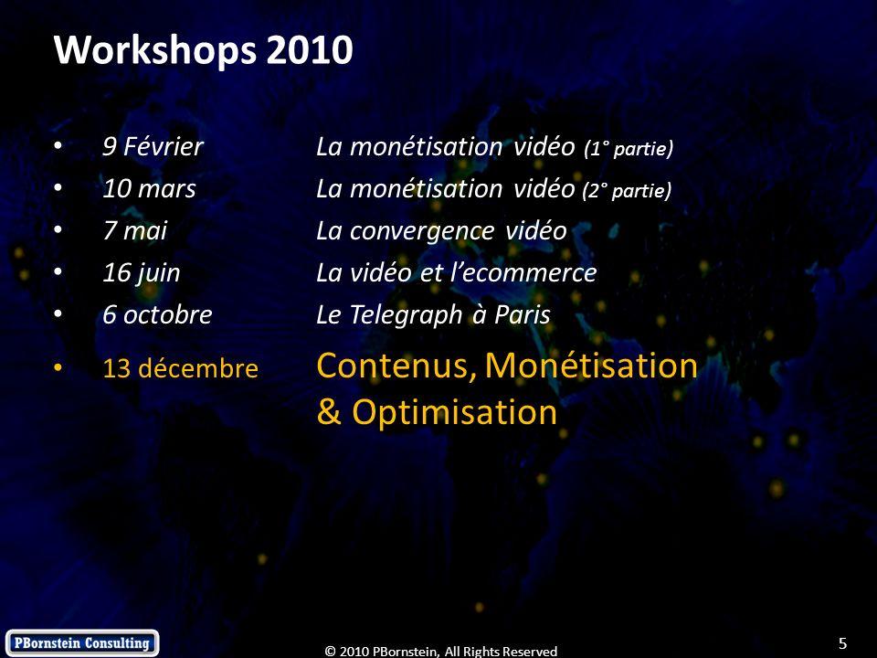 5 © 2010 PBornstein, All Rights Reserved Workshops 2010 9 FévrierLa monétisation vidéo (1° partie) 10 mars La monétisation vidéo (2° partie) 7 mai La
