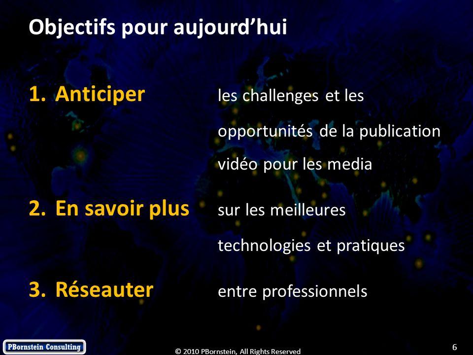 6 © 2010 PBornstein, All Rights Reserved Objectifs pour aujourdhui 1.Anticiper les challenges et les opportunités de la publication vidéo pour les med