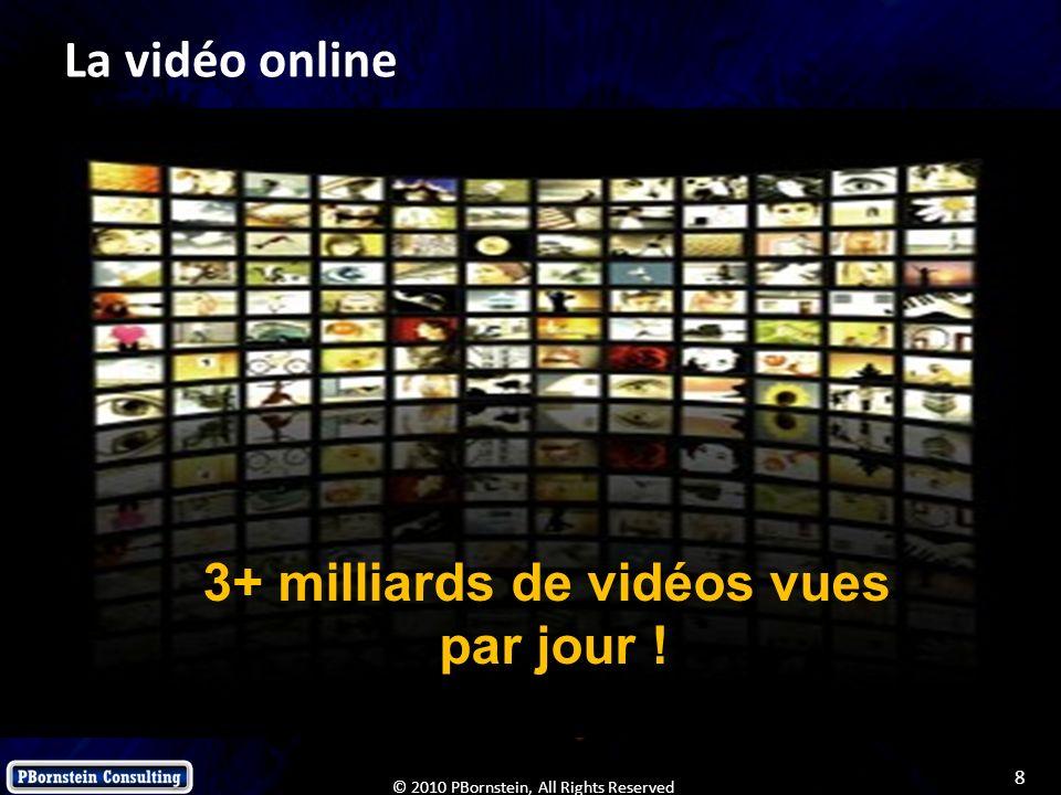 8 © 2010 PBornstein, All Rights Reserved La vidéo online 3+ milliards de vidéos vues par jour !
