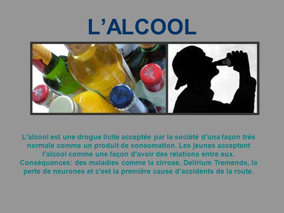 LALCOOL L alcool est une drogue licite acceptée par la société d una façon très normale comme un produit de consomation.
