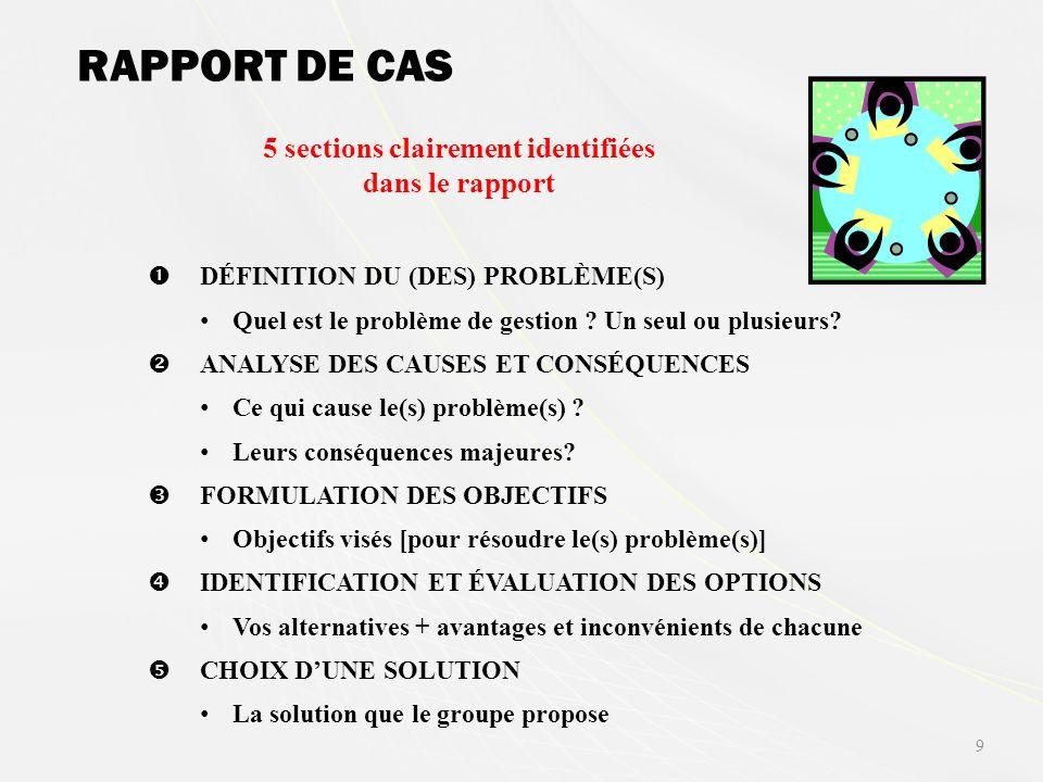 RAPPORT DE CAS DÉFINITION DU (DES) PROBLÈME(S) Quel est le problème de gestion .