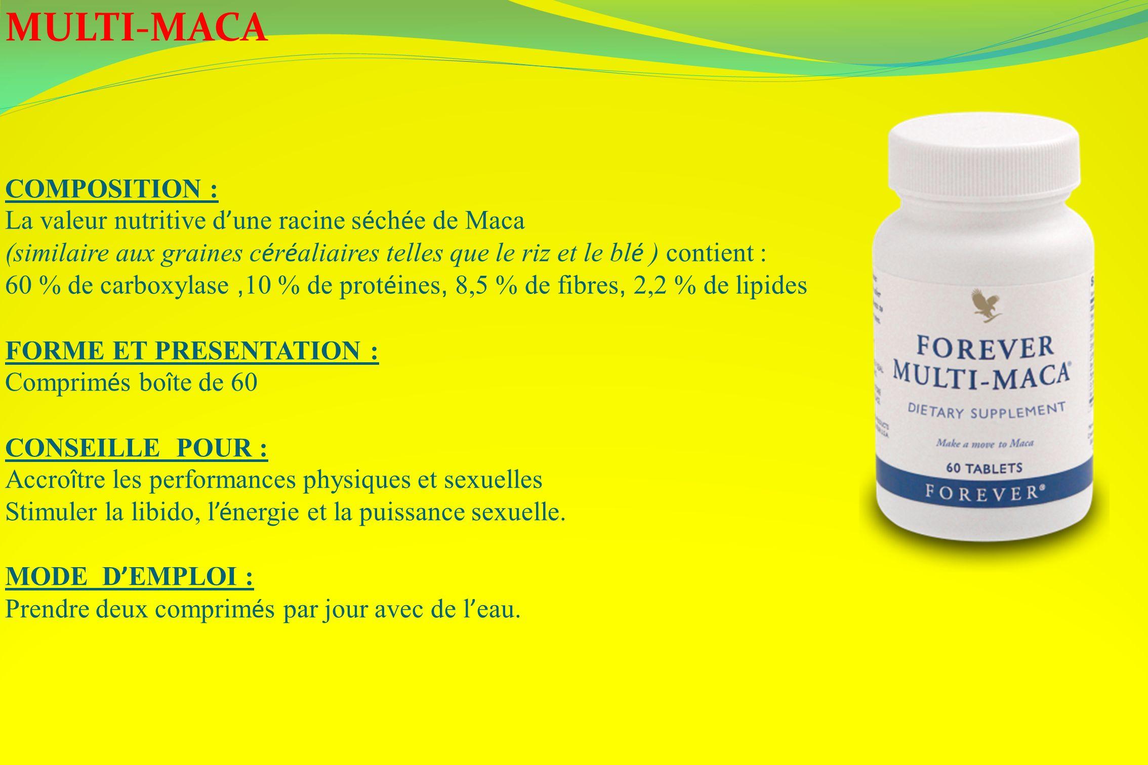 MULTI-MACA COMPOSITION : La valeur nutritive d une racine s é ch é e de Maca (similaire aux graines c é r é aliaires telles que le riz et le bl é ) co
