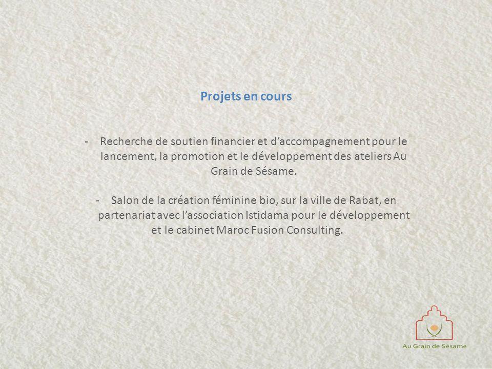 Projets en cours -Recherche de soutien financier et daccompagnement pour le lancement, la promotion et le développement des ateliers Au Grain de Sésam