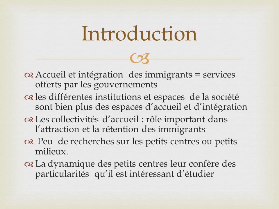 Accueil et intégration des immigrants = services offerts par les gouvernements les différentes institutions et espaces de la société sont bien plus de