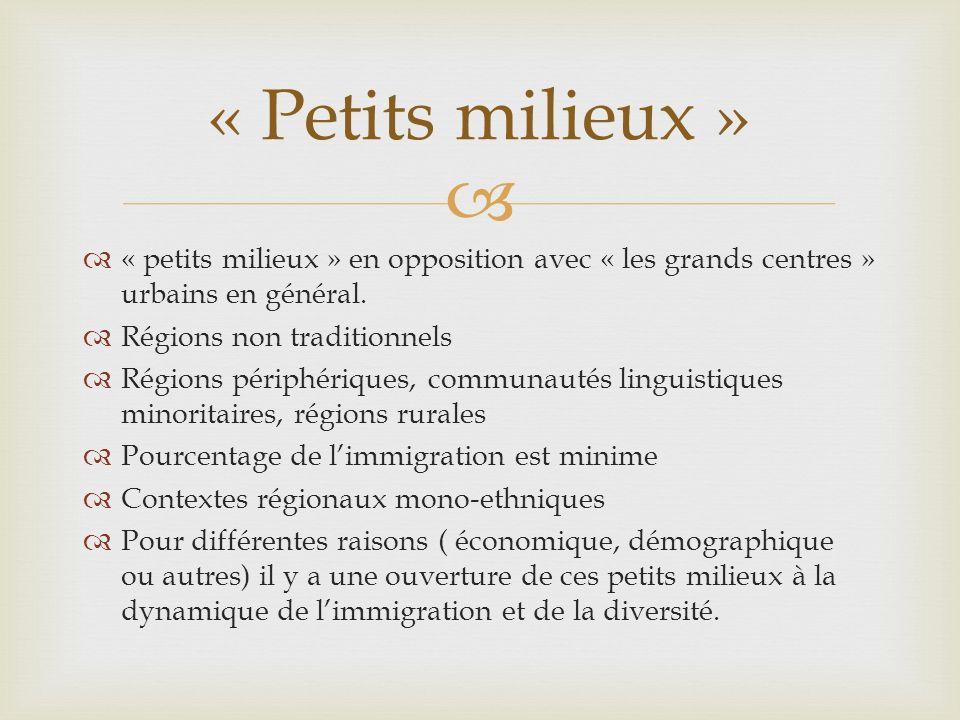 « petits milieux » en opposition avec « les grands centres » urbains en général. Régions non traditionnels Régions périphériques, communautés linguist