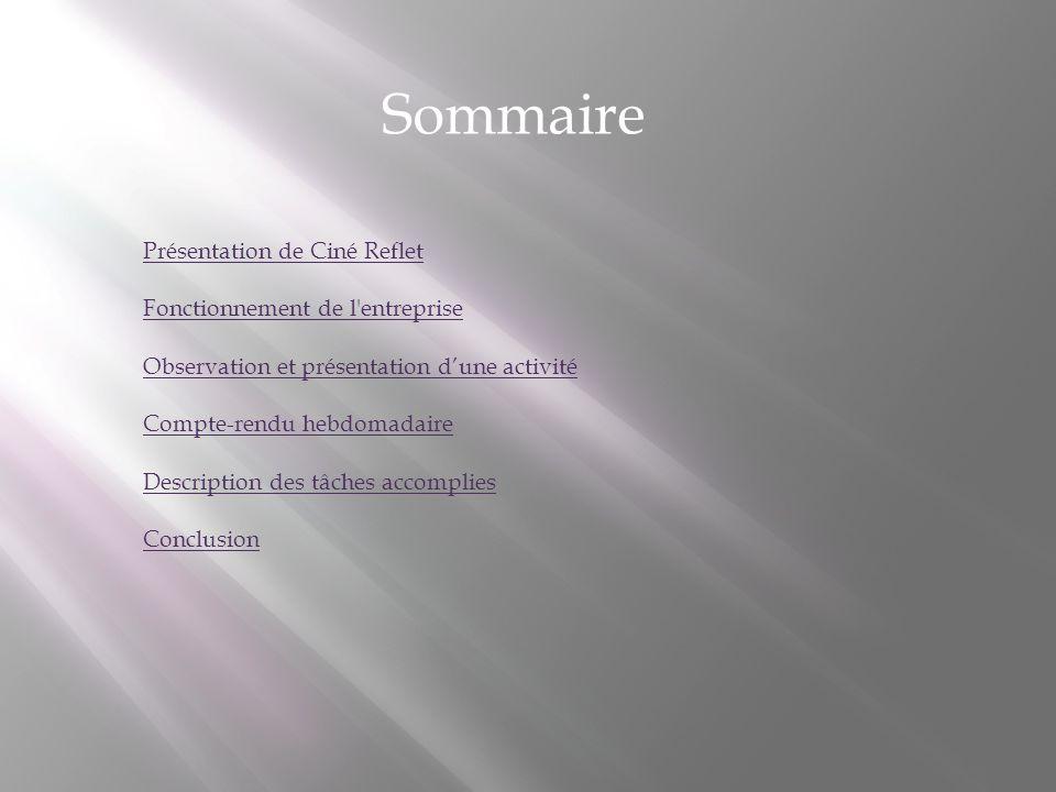 Sommaire Présentation de Ciné Reflet Fonctionnement de l'entreprise Observation et présentation dune activité Compte-rendu hebdomadaire Description de