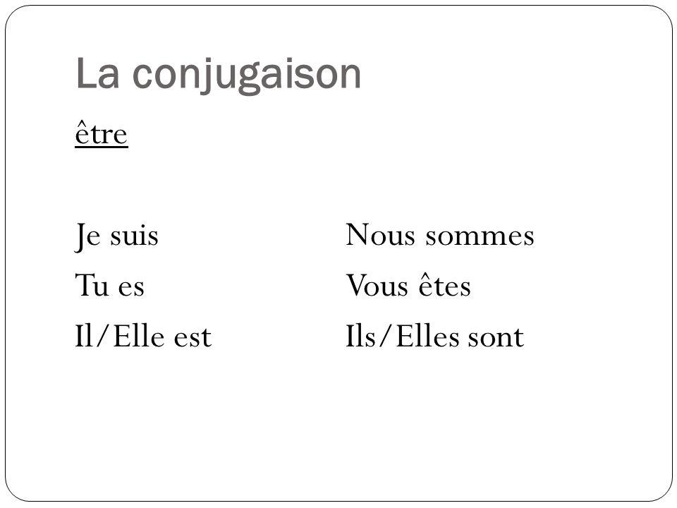 La conjugaison être Je suisNous sommes Tu esVous êtes Il/Elle estIls/Elles sont
