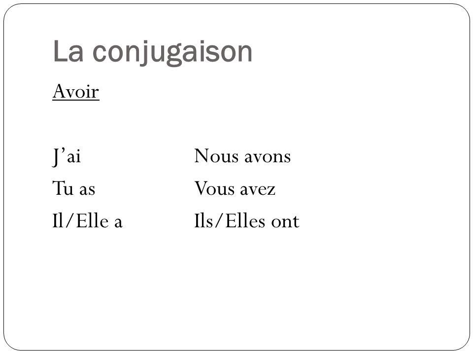 La conjugaison Avoir JaiNous avons Tu asVous avez Il/Elle aIls/Elles ont