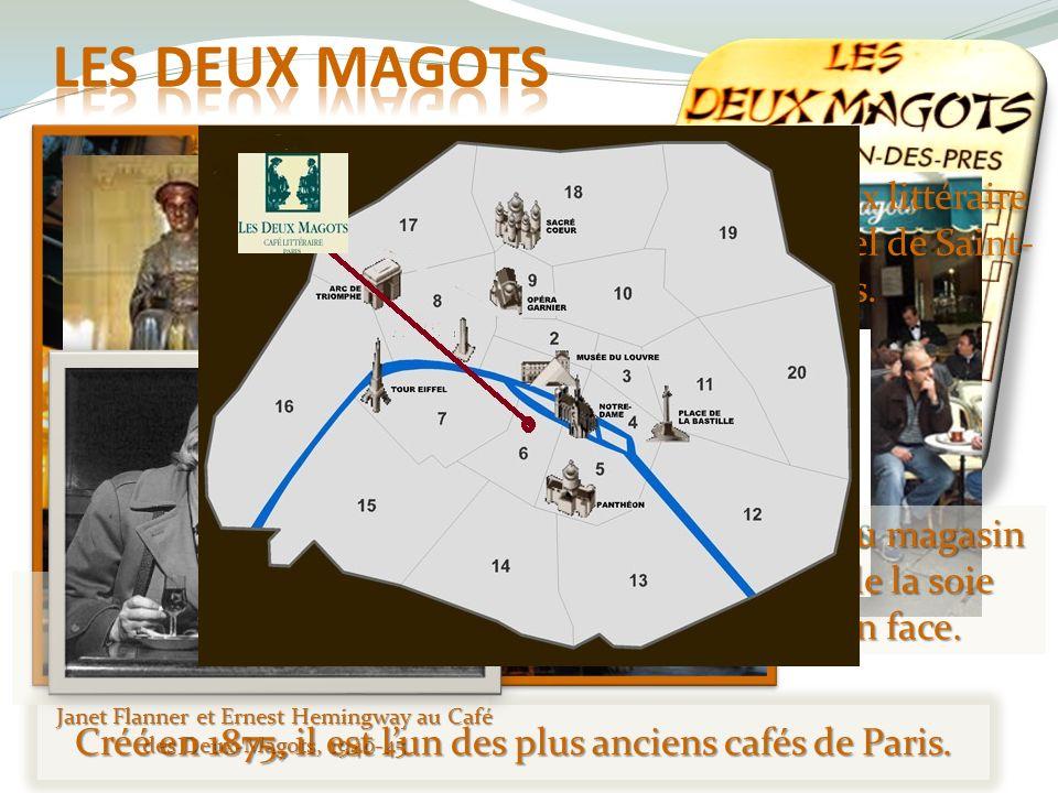 Créé en 1875, il est lun des plus anciens cafés de Paris. Ces deux statues restent les témoins de cette époque. Les garçons, selon la tradition, sont
