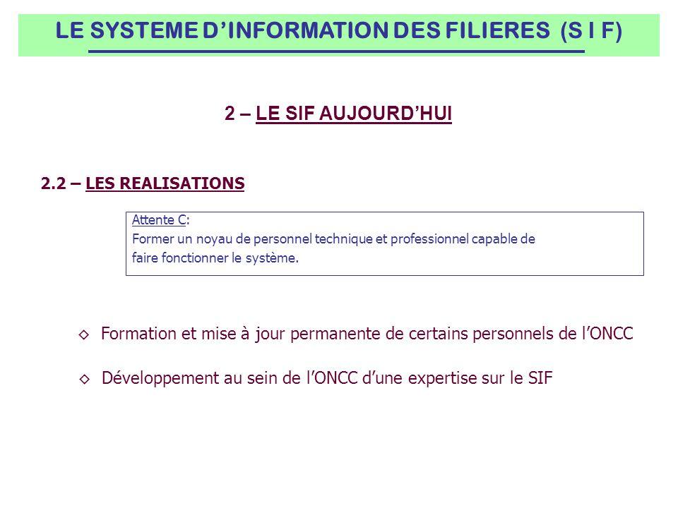 2.2 – LES REALISATIONS Attente C: Former un noyau de personnel technique et professionnel capable de faire fonctionner le système.