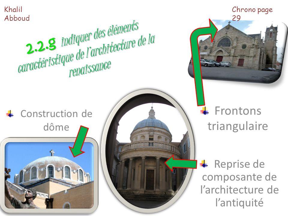 2.2.g indiquer des éléments caractéristique de larchitecture de la renaissance Reprise de composante de larchitecture de lantiquité Construction de dô