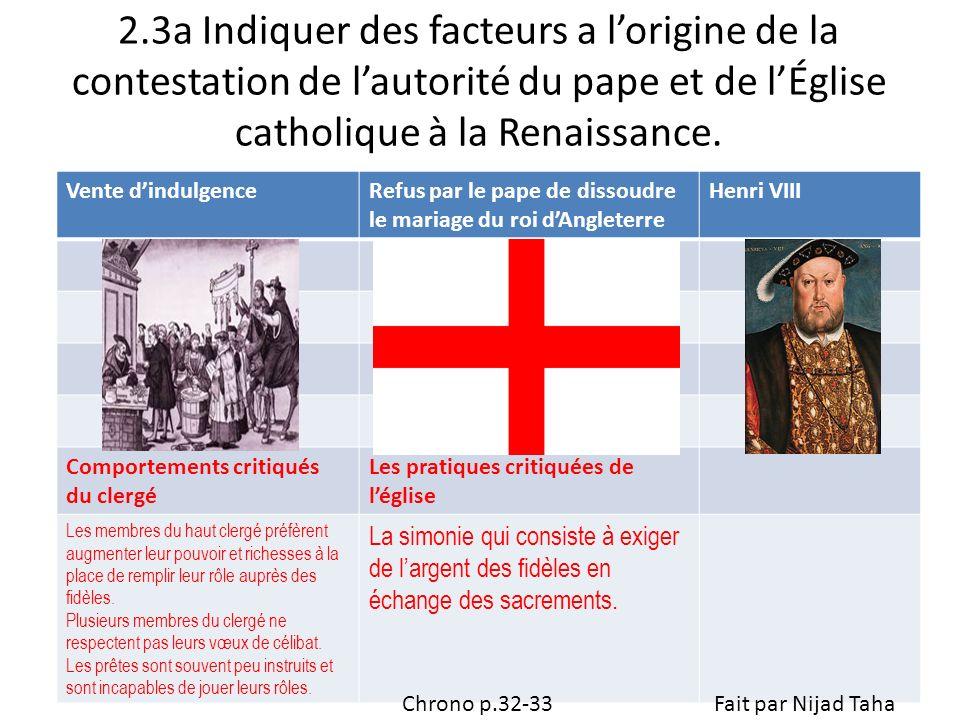 2.3a Indiquer des facteurs a lorigine de la contestation de lautorité du pape et de lÉglise catholique à la Renaissance. Vente dindulgenceRefus par le