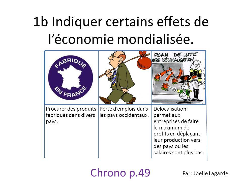 1b Indiquer certains effets de léconomie mondialisée. Procurer des produits fabriqués dans divers pays. Perte demplois dans les pays occidentaux. Délo