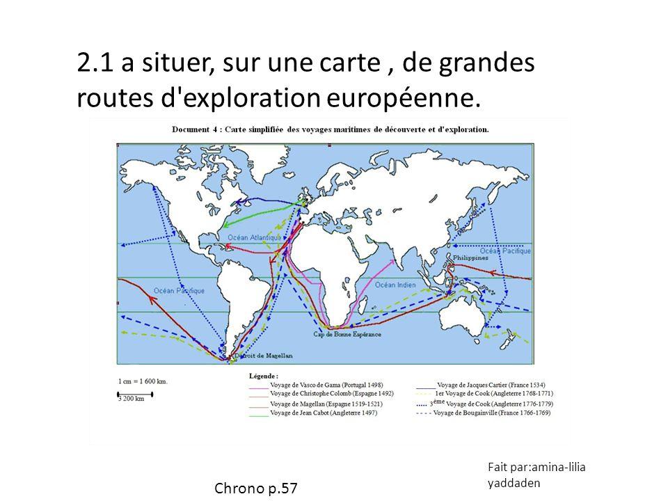 2.1 a situer, sur une carte, de grandes routes d'exploration européenne. Fait par:amina-lilia yaddaden Chrono p.57