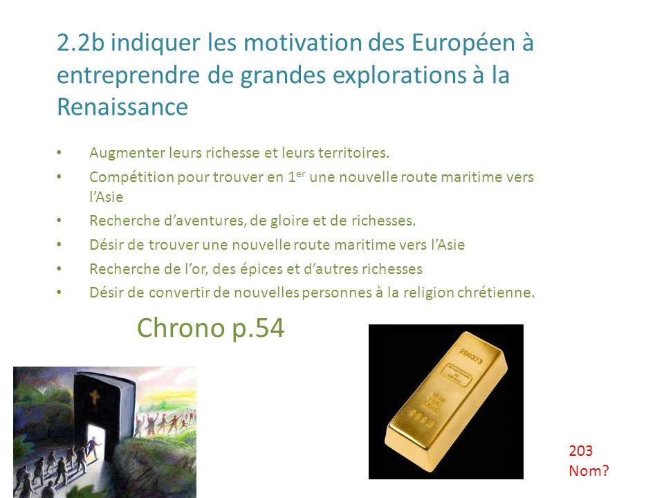 2.2b indiquer les motivation des Européen à entreprendre de grandes explorations à la Renaissance Augmenter leurs richesse et leurs territoires. Compé