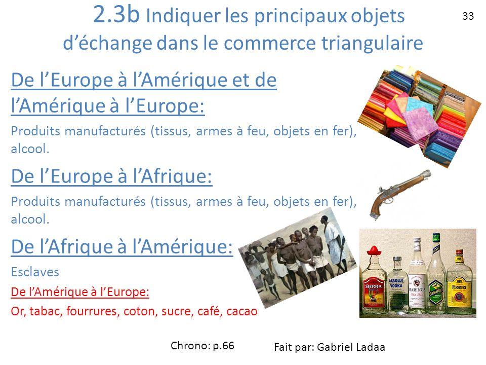 2.3b Indiquer les principaux objets déchange dans le commerce triangulaire De lEurope à lAmérique et de lAmérique à lEurope: Produits manufacturés (ti
