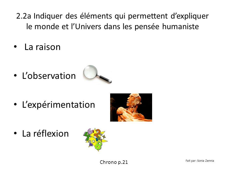 2.2a Indiquer des éléments qui permettent dexpliquer le monde et lUnivers dans les pensée humaniste La raison Lobservation Lexpérimentation La réflexi